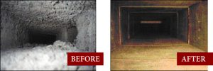 before and after of duct cleaning